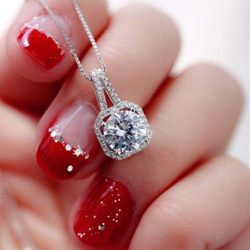 New Fashion 2019 Square Rhinestone Crystal Zircon Pendant Necklace Women Silver Metal Chain Necklace Jewelry
