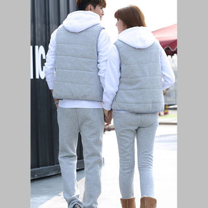 Winter Lovers 3 Piece Sets Hoodie+Vest+PantLetter Print Warm Lambswool Hoodie Padded Parka Casual Wadded Jacket Suits Gjl36