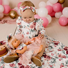 Load image into Gallery viewer, Audrey Floral Swaddle & Headband Set - Tea Rose - One Size