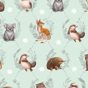 Fitted Cotton Bassinet Sheet - Little Aussie Animals - Elise Martinson