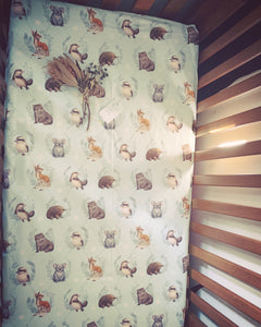 Fitted Cotton Cot Sheet - Little Aussie Animals - Elise Martinson