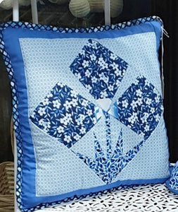 Blue 3 petal flowers Handmade cushion