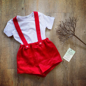 Suspender Shorts -Red
