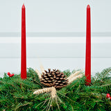 Red Candles on Birch Log