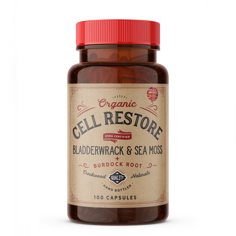 CELL RESTORE CAPSULES: Bladderwrack + Irish Sea Moss + Burdock Root USDA Certified Organic Powder - Creekwood Naturals