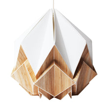 Load image into Gallery viewer, Suspension Origami en Ecowood et Papier Blanc  - taille S