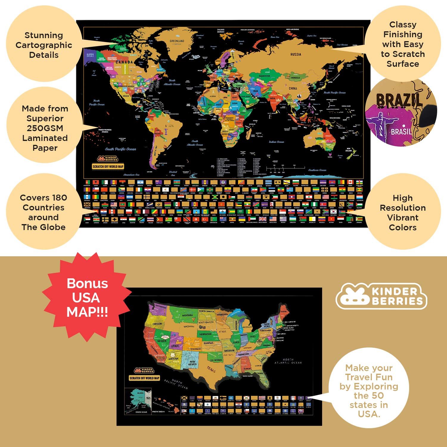Scratch Off Map Of The World - Travel Map with US Map as bonus ...