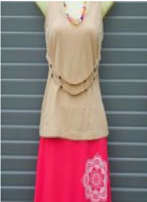 Bamboo angled hem skirt - Plain or with Mandala