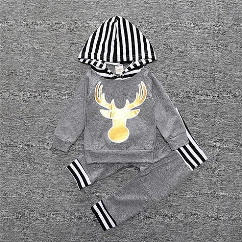 2-Piece Set Gray Cerf - Hoody & Pants Together - Children Baby Clothing 18M - Serene Parents