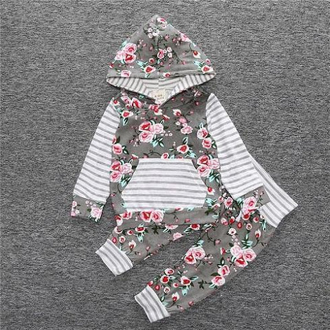 2-Piece Set Gray Floral - Hoody & Pants Together - Children Baby Clothing 18M - Serene Parents
