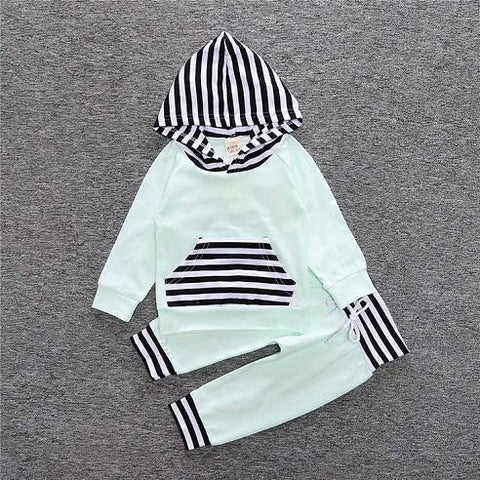 2-Piece Set Green Parts and Hood Stripes - Hoody & Pants Together - Children Baby Clothing 18M - Serene Parents