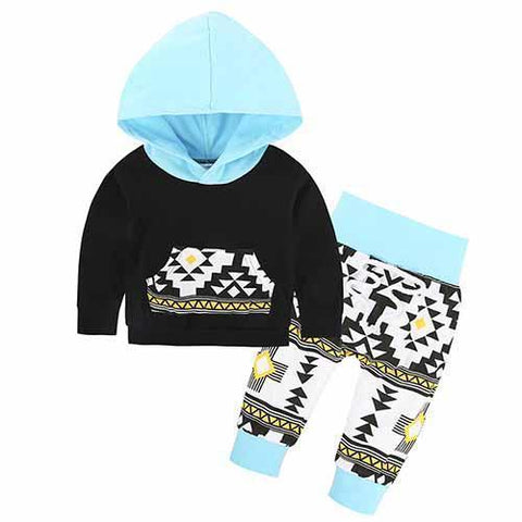 2-Piece Set Parts Blue Symbols - Hoody & Pants Together - Children Baby Clothing 18M - Serene Parents