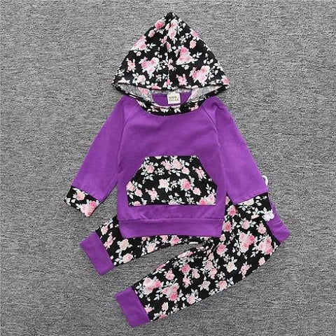 2-Piece Set Pieces Floral Purple - Hoody & Pants Together - Children Baby Clothing 18M - Serene Parents