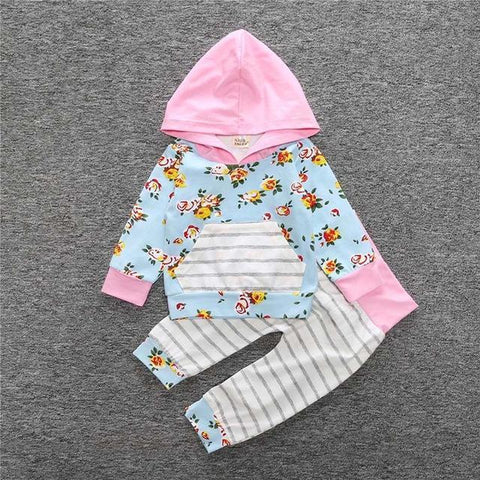 2-Piece Set Pieces Floral Rose & Blue - Hoody & Pants Together - Children Baby Clothing 18M - Serene Parents