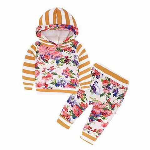 2-Piece Set Pieces Floral Stripes Oranges - Hoody & Pants Together - Children Baby Clothing 18M - Serene Parents