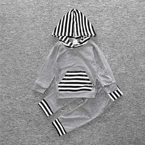 2-Piece Set Pieces Gray and Hood Stripes - Hoody & Pants Together - Children Baby Clothing 18M - Serene Parents