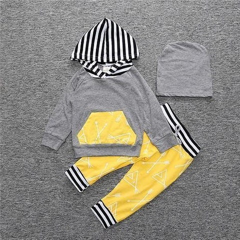 2-Piece Set Pieces Gray and Hood Stripes - Hoody & Pants Yellow Together - Children Baby Clothing 18M - Serene Parents