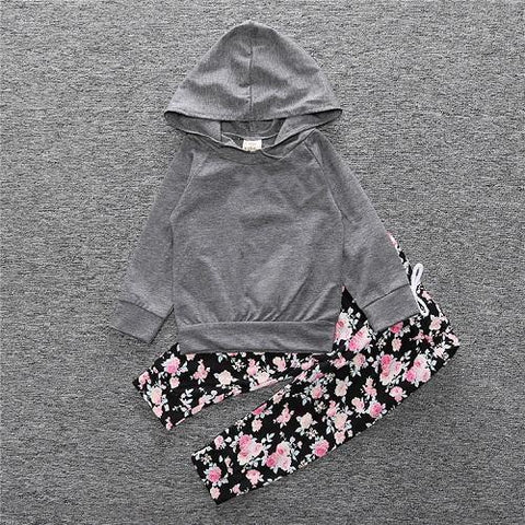 2-Piece Set Pieces gray - Hoody & Pants Floral Together - Children Baby Clothing 18M - Serene Parents