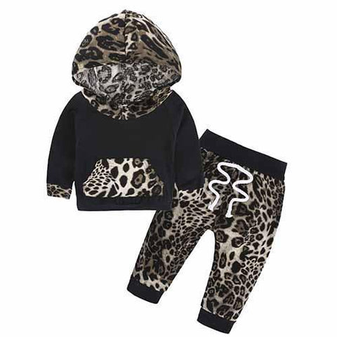 2-Piece Set Pieces Leopard - Hoody & Pants Together - Children Baby Clothing 18M - Serene Parents