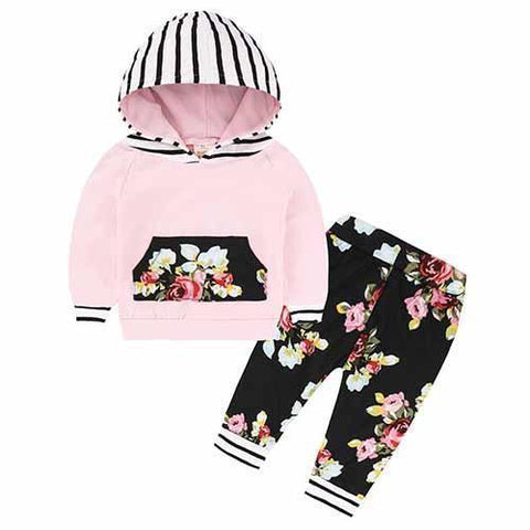 2-Piece Set Pieces Pink and hood to Rayrues - Hoody & Pants Black Together - Children Baby Clothing 18M - Serene Parents