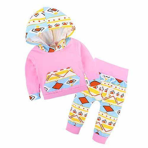 2-Piece Set Pieces Pink Symbols - Hoody & Pants Together - Children Baby Clothing 18M - Serene Parents