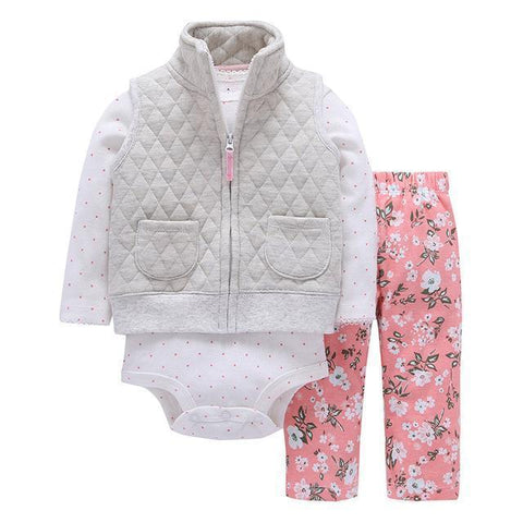 3-Piece Set - Gray Fleece Sweat Pants Rose Floral & Body White Together - Children Baby Clothing 9M - Serene Parents