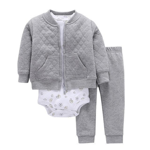 3-Piece Set - Gray Hoody Fleece Pants Gray & Body White Together - Children Baby Clothing 9M - Serene Parents