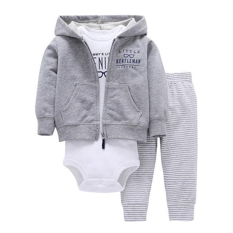 3-Piece Set - Gray Hoody Gray Striped Pants & Body White Together - Children Baby Clothing 9M - Serene Parents