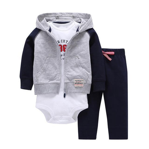 3-Piece Set - Gray Hoody Pants Blue & White Body Together - Children Baby Clothing 9M - Serene Parents