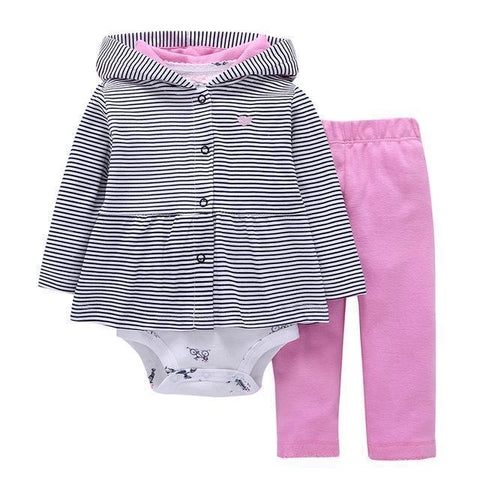 3-Piece Set - Hooded Vest Striped Pants Rose & White Body Together - Children Baby Clothing 9M - Serene Parents