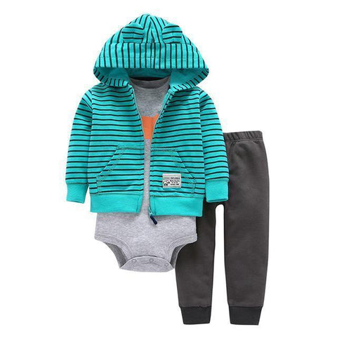 3-Piece Set - Hoody Blue Striped Pants Gray & Body Gray Together - Children Baby Clothing 9M - Serene Parents