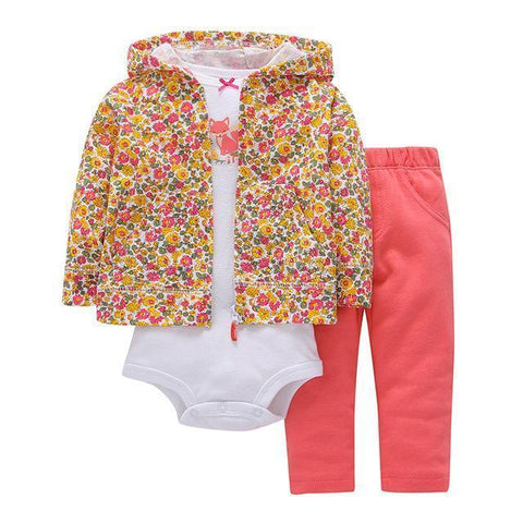 3-Piece Set - Hoody Floral Pants Rose & White Body Together - Children Baby Clothing 9M - Serene Parents