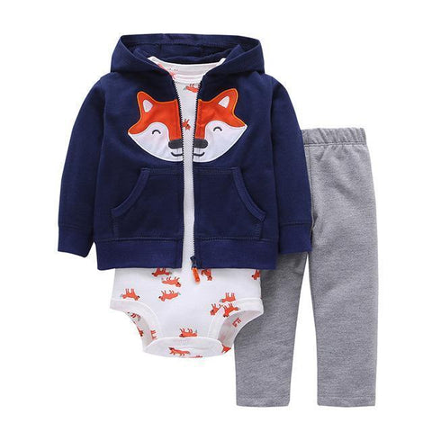 3-Piece Set - Hoody Fox Blue, Gray Trousers & Body White Fox Together - Children Baby Clothing 6M - Serene Parents