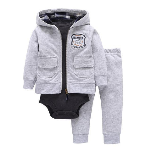 3-Piece Set - Hoody Gray Pants Gray & Body Black Together - Children Baby Clothing 9M - Serene Parents