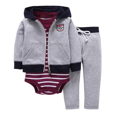 3-Piece Set - Hoody Gray Pants Gray & Body Striped Bordeaux Together - Children Baby Clothing 9M - Serene Parents