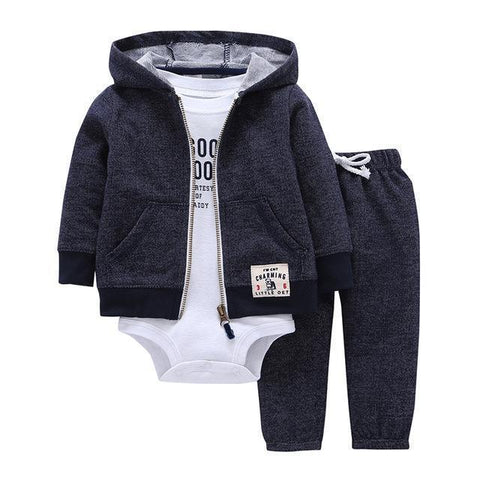 3-Piece Set - Hoody Gray Pants Gray & Body White Together - Children Baby Clothing 9M - Serene Parents