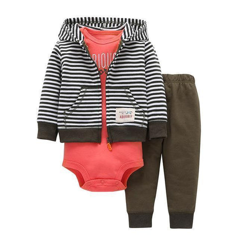 3-Piece Set - Hoody Striped Pants Khaki & Body Rose Together - Children Baby Clothing 9M - Serene Parents