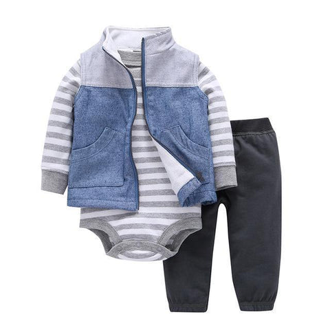 3-Piece Set - Jacket Sleeves Jean Pants Black & Gray Striped Body Together - Children Baby Clothing 9M - Serene Parents