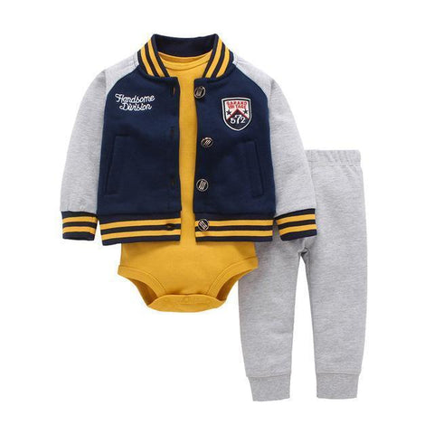 3-Piece Set - Teddy Jacket, Pants Gray & Body Yellow Together - Children Baby Clothing 9M - Serene Parents