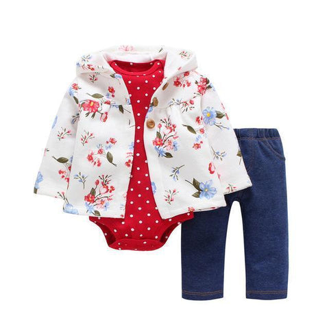 3-Piece Set - White Flower Jacket, Pants Blue & Body Red Together - Children Baby Clothing 6M - Serene Parents