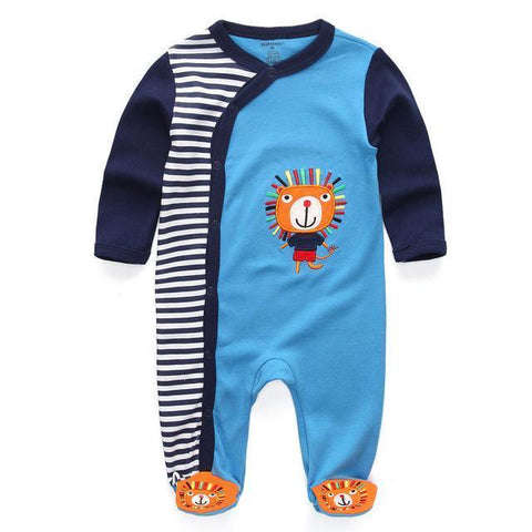 Blue Lion One Piece Jumpsuit Pajamas - Combination - Kids Clothing 3M - Serene Parents