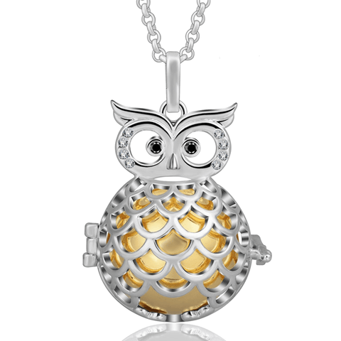 Bola Pregnancy Necklace - Owl Bola Pregnancy Necklace - Maternity Pendant Orange / 30 in (80 cm) - Serene Parents