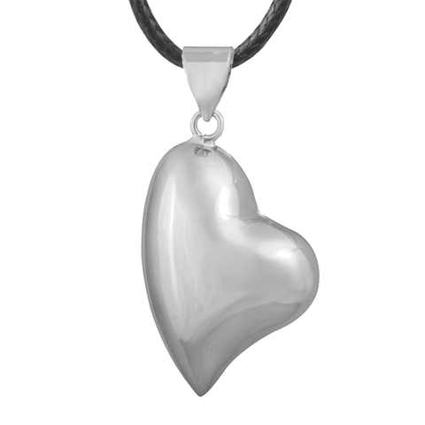 Bola Pregnancy Necklace - Stretched Heart - Silver Bola Pregnancy Necklace - Maternity Pendant 30 in (80 cm) - Serene Parents