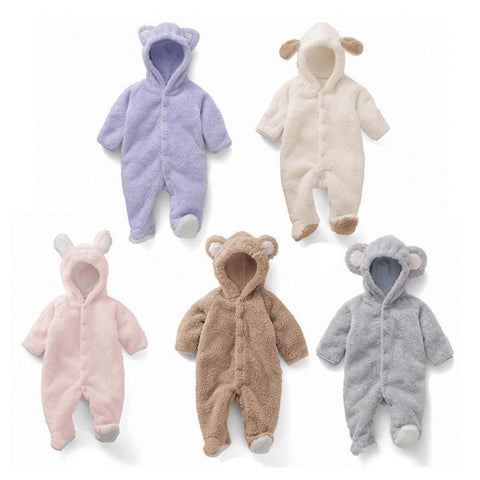 One Piece Jumpsuit Bears Plush Pajamas - Combination - Kids Clothing White / 0 to 3 months - Serene Parents