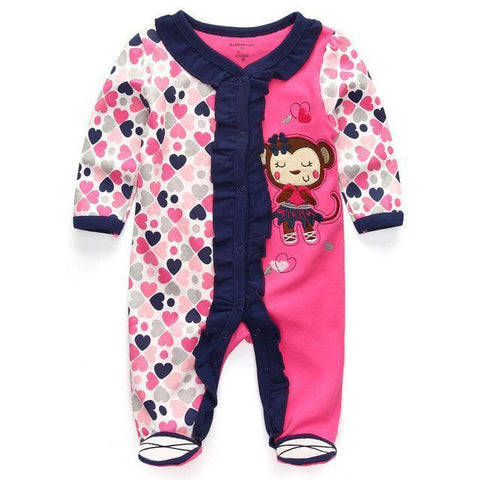 One Piece Jumpsuit Heart Monkey Pajamas - Combination - Kids Clothing 12M - Serene Parents