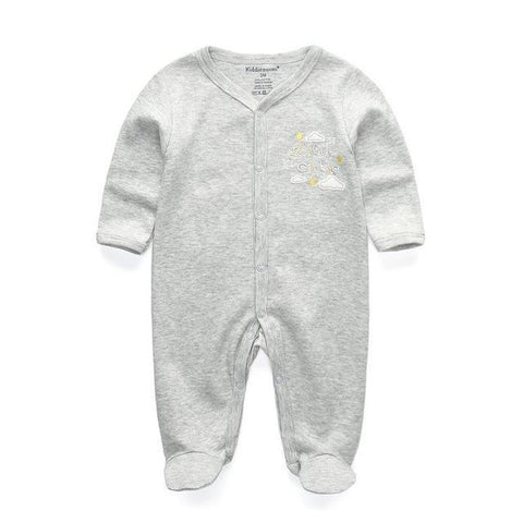 One Piece Jumpsuit Pajamas Gray Pajamas - Combination - Kids Clothing 12M - Serene Parents