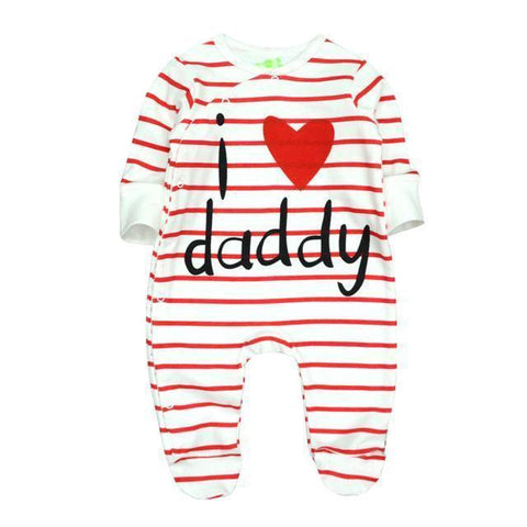 One Piece Jumpsuit Pajamas I Love Daddy Pajamas - Combination - Kids Clothing 12M - Serene Parents