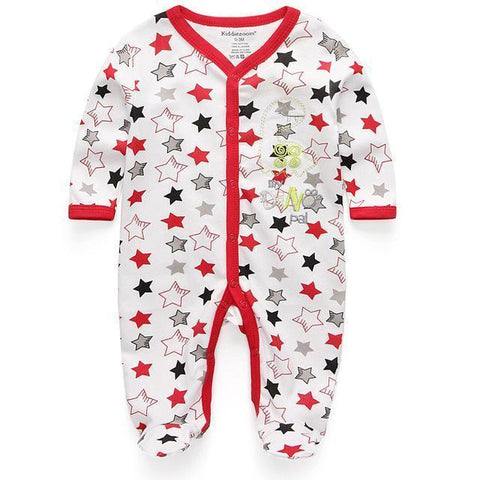 One Piece Jumpsuit Pajamas Red Starred Pajamas - Combination - Kids Clothing 12M - Serene Parents