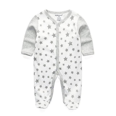 One Piece Jumpsuit Pajamas Starry Gray Pajamas - Combination - Kids Clothing 12M - Serene Parents