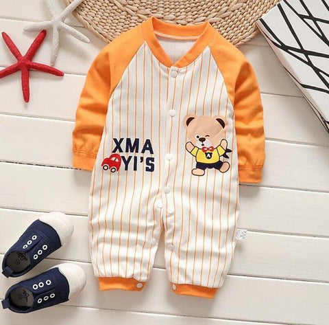 Pajama One Piece Jumpsuit Reasons To Cotton - Orange Baseball Pajamas - Combination - Kids Clothing Baseball Orange / 3M - Serene Parents